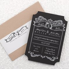 Dazzling Wedding Invitations – Discount: Brilliant Banners Invitation - A black card with rounded out corners and an elegant flourish design. Vintage Wedding Theme, Craft Wedding, Rustic Wedding, Our Wedding, Wedding Ideas, Wedding Blog, Wedding Cards, Discount Wedding Invitations, Vintage Wedding Invitations