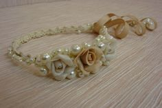 Wedding Pearls and Roses Hair Band by AVRORAandALORNA on Etsy https://www.etsy.com/listing/227522021/wedding-pearls-and-roses-hair-band