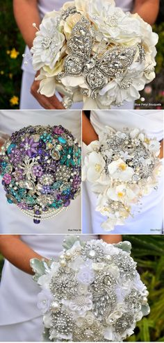 These brooch bouquets are gorgeous! I love the idea not only for weddings but for other special occasions. Great way to give your sweetie a piece of bling for her birthday- to sneak it into the bouquet of flowers. Our Wedding, Destination Wedding, Dream Wedding, Bling Wedding, Purple Wedding, Wedding Stuff, Wedding Bouquets, Wedding Flowers, Wedding Dresses