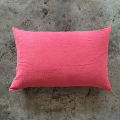 Coral oblong linen cushions, with feather inner Bed Pillows, Cushions, Interior Styling, Pillow Cases, Feather, Coral, Furniture, Collection, Pillows