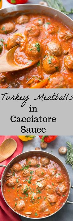 A savory, vegetable-filled cacciatore sauce surrounds cheese-filled meatballs for a family-friendly meal that will bring everyone to the table! via @Lemonsforlulu