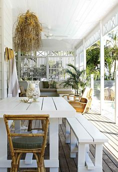 A little bit of wishful thinking and a whole lot of renovating know-how came together in this charming Byron Bay beach house renovation. Outdoor Rooms, Outdoor Tables, Outdoor Living, Outdoor Furniture Sets, Outdoor Areas, Byron Bay Beach, Porches, Home Fencing, Yard Fencing