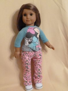 Minnie Mouse up-cycled Baseball T-shirt and floral jeans for 18 inch dolls. by ItIsSewYou on Etsy
