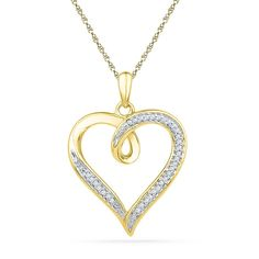 10kt Yellow Gold Womens Round Diamond Heart Love Pendant 1/10 Cttw 101083