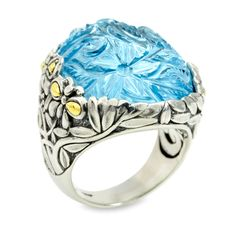 Carved Blue Topaz Sterling Silver Ring with 18K Gold Accents | Cirque Jewels