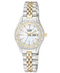 Citizen Watch, Women's Two Tone Stainless Steel Bracelet 26mm EQ0534-50D - Watches - Jewelry & Watches - Macy's