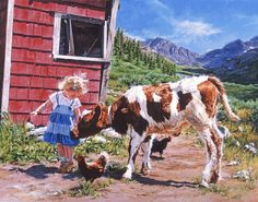 """Painting of little girl and baby cow on a ranch, wall art - """"Majestic Ranch"""" by Carla D'aguanno available at Great BIG Canvas. Big Canvas Art, Canvas Frame, Cow Painting, Painting & Drawing, Wall Art Prints, Framed Prints, Canvas Prints, Twin Baby Girls, Wildlife Art"""