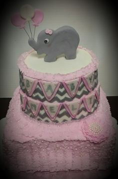 Elephant Baby Shower Cake, Baby Girl Baby Shower Cake, Pink And Gray Baby  Shower