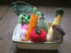 CROCHET VEGETABLE BASKET leek, pear, mushroom, squash, carrot, radish, tomato on Etsy, $38.00