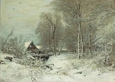 A cottage in a snowy landscape <br />signed 'Louis Apol' (lower left)<br />oil on canvas<br /><i>31 1/2 x 44in (80 x 111.8cm)</i>