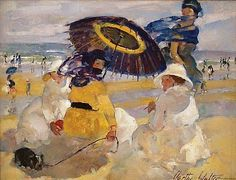 Martha Walter (American Impressionist, 1875–1976) Beach Umbrella, It's About Time: Beach - Waterside