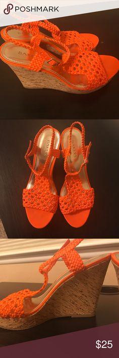 Bakers Orange Cork Wedges Bakers Orange Crochet Cork Wedges worn once in excellent condition. Originally $65 Bakers Shoes Wedges