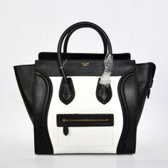 Celine Luggage Calfskin Elephant pattern Leather Bag (White Black)