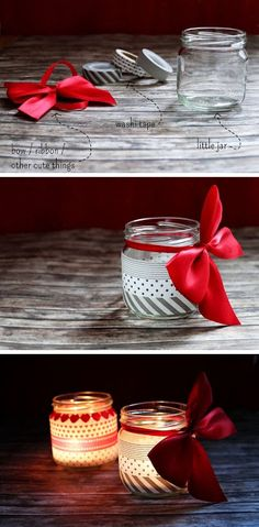 de How to make pretty Christmas Lights with Washi Tape DIY Diy Holiday Gifts, Diy Gifts, Mason Jar Crafts, Mason Jars, Glass Jars, Christmas Lights, Christmas Crafts, Noel Christmas, Christmas Candles