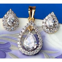CZ and crystal studded gold plated pendent set  - Online Shopping for Pendants by Ami Designs