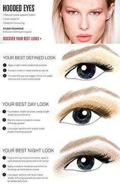 Hooded Eyes Make-up Beauty Hacks Tipps Tricks Anleitungen Eye Makeup Tips, Skin Makeup, Makeup Stuff, Makeup Ideas, Makeup Tutorials, Small Eyelid Makeup, Makeup Tips And Tricks, Droopy Eye Makeup, Makeup Eyeshadow