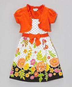 Look at this #zulilyfind! Littoe Potatoes Orange Floral Polka Dot Dress & Shrug - Infant, Toddler & Girls by Littoe Potatoes #zulilyfinds