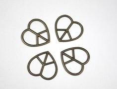 4pcs Bronze Vintage Style Heart Shape Peace Sign Charm by eSupply, $2.59