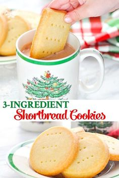 These Scottish Shortbread Cookies are an easy dessert thats perfect for Christmas Cookie Recipes Baking Christmas Cookies Yummy Recipes, Easy Baking Recipes, Cookie Recipes, Christmas Recipes, Sweet Recipes, Holiday Recipes, 3 Ingredient Cookies, 3 Ingredient Desserts, 3 Ingredient Shortbread Cookie Recipe