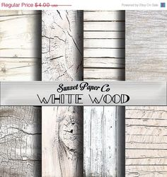 SALE White Washed Wood Digital Paper Pack by SunsetPaperCo on Etsy