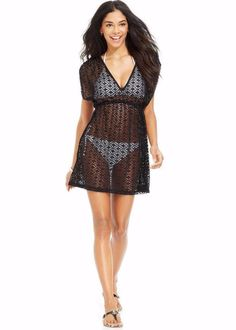 c255e8de747b NWT NEW Miken Black Diamond Crochet Swimsuit Cover Up Tunic Dress Medium  fe02  fashion