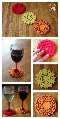 Blog post at A Bird and a Bean :  These DIY Slip-on Felt Coasters double as wine tags and are a super simple and inexpensive way to save your tables and mark your wine glas[..]