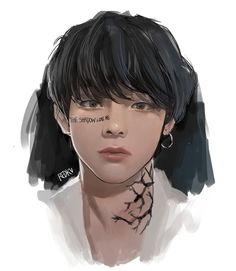Taehyung Fanart, Bts Taehyung, Bts Memes, V Chibi, V Bts Wallpaper, Kpop Drawings, Bts Aesthetic Pictures, Sketch Inspiration, Anime Hair