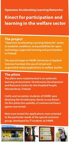 Kinect for participation and learning in the welfare sector HAMK University of Applied Sciences - - - Technology Support, Applied Science, University, How To Apply, Studying, Colleges