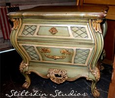 RESERVED Adrienne French Bombe Nightstand