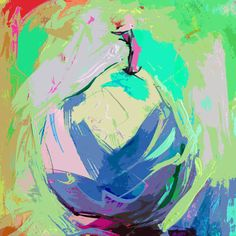 Abstract Pear Art Print Fruit Giclee Print Abstract by Tamarrisart