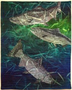 Sacramento River Chinook by Martha Wolfe.  Inspirations II exhibit at the San Jose Museum of Quilts & Textiles 2016.
