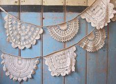 Vintage Doily Bunting. Crochet Vintage doilies in Beige.