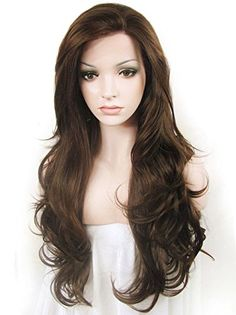 Amazon.com : Imstyle® Kardashian Style Natural Brown Long Wavy Wig Heat Resistant Synthetic Lace Front Wig : Beauty