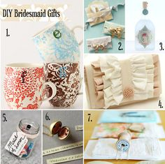 Great ideas for great DIY bridesmaid gifts.   http://rebeccasmithonline.com/2012/05/04/handmade-gifts-wedding-party/