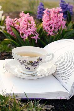 Te y lectura en el jardín