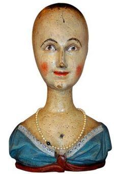 18th C. Folk Art Wig Head