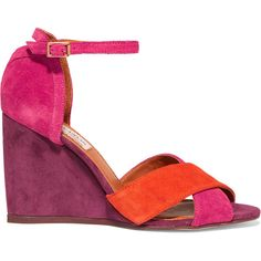 Lanvin Color-block suede wedge sandals ($220) ❤ liked on Polyvore featuring shoes, sandals, red, suede sandals, strappy wedge sandals, strappy sandals, suede shoes and colorblock wedge sandals
