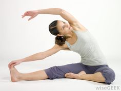 Woman stretching her sides