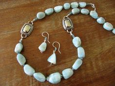 Aquamarine gemstone nuggets and crystals with Western motif accents, necklace and matching earrings, by Ann Case, WiredWithLoveJewelry, $63.00