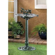 Graceful Sculpted Verdigris Birdbath - Enjoy the sight and sounds of your feathered friends as they dip into the crystal waters of this Graceful Sculpted Verdigris Birdbath! This handsome focal piece is an ideal centerpiece for any garden!