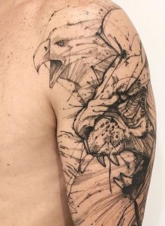 This simple tattoo of a snarling eagle and a cougar is meant to convey wild masculinity. The lack of color helps to keep the entire design subtle, which allows the tattoo to convey its aesthetics without resorting to unnecessary embellishments. Tattoos 3d, Eagle Tattoos, Wolf Tattoos, Trendy Tattoos, Body Art Tattoos, Tattoos For Guys, Sleeve Tattoos, Design Tattoo, Tattoo Designs