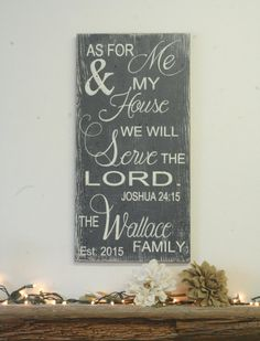 As For Me And My House Custom Wood Sign Wedding Gift Bridal Shower Gift Distressed Wood Shabby Chic Wedding Christian Sign Religious Sign