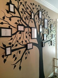 painted family tree on wall | Hand painted family tree with frames!