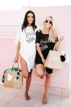 Cute Bachelorette Party Ideas, Gifts & Party Favors for your girls trip! Including bridesmaid swim covers, beach totes, heart sunglasses and more! Bachelorette Outfits, Vegas Bachelorette, Bachelorette Party Shirts, Babe, Lingerie, Swimsuits, Swim Cover, Swimsuit Cover, White Vinyl