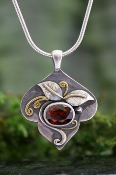 Garnet Bud Pendant, 22k Gold and Sterling Silver