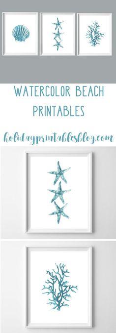 Watercolor Beach Printables | Free Printable Art | Beach House | Coastal Decor | Teal Art | Turquoise Blue Printable Art | Wall Decor Ideas