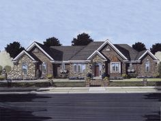 Ranch House Plan Front of Home 065D-0099