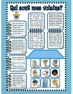 Teach Your Child to Read - Qui sont mes voisins? reading and mathing - Give Your Child a Head Start, and.Pave the Way for a Bright, Successful Future. French Adjectives, French Verbs, French Flashcards, French Worksheets, French Teaching Resources, Teaching French, Comprehension Activities, Reading Comprehension, High School French