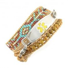 Our N-Style ID Spirit medical ID bracelet is a beaded wrap around bracelet with an earthy casual style. The seed beads are woven in an Aztec pattern of turquoise, copper and tan, surrounded by wood beads which are all wrapped up in leather cord to produce a medical ID wrap bracelet. Spirit  Beaded Wrap Medical Bracelet by N-Style ID