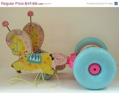 1962 Fisher price Pony Chime Pull Toy Wood And Tin Lithograph